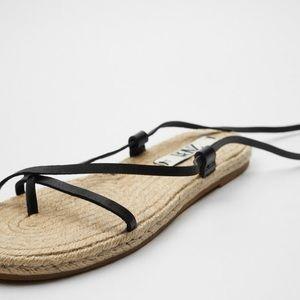 Zara jute tie up sandals